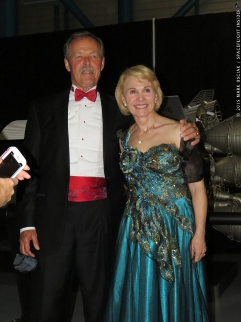 "Former shuttle astronauts Robert ""Hoot"" Gibson Rhea Seddon Kennedy Space Center Visitor Complex U.S. Astronaut Hall of Fame Induction 2015"