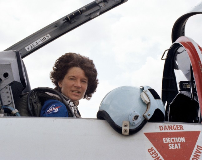 Astronaut Sally Ride in the cockpit of a T-38 trainer jet. NASA photo posted on SpaceFlight Insider
