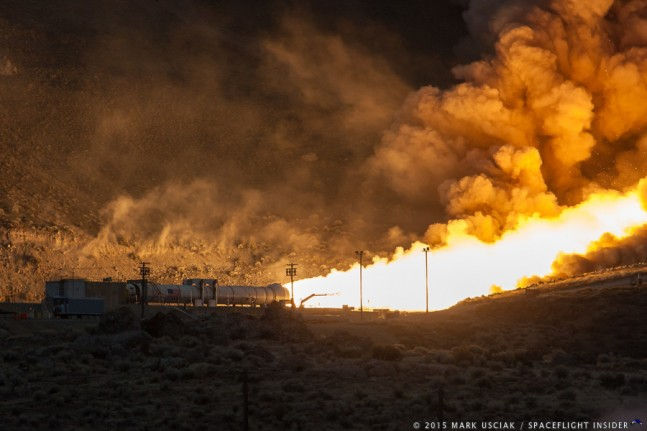 In March of this year (2015) Orbital ATK and NASA successfully carried out the test firing of the Qualification Motor 1 five segment solid rocket booster. A recent release from the company has issued a release that the test was a complete success. Photo Credit: Mark Usciak / SpaceFlight Insider