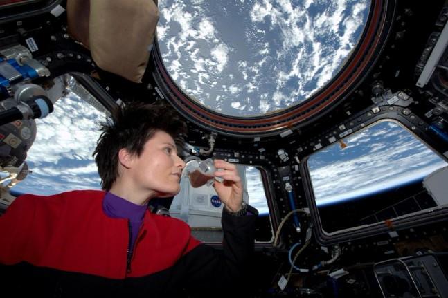 Italian astronaut Samantha Cristoforetti sips first espresso in space.