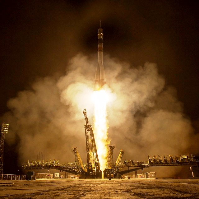 Roscosmos Soyuz booster lifts off for the International Space Station. Photo Credit: Bill Ingalls / NASA