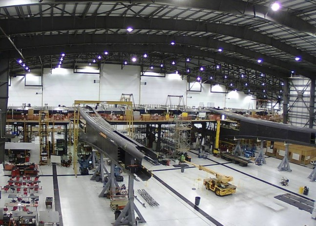Stratolaunch carrier aircraft under construction in Mojave, CA