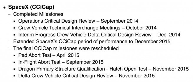 Graphic listing uncompleted SpaceX CCiCap milestones from April 2015 presentation to NRC ASEB by Bill Gerstenmaier