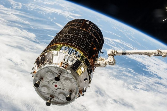 HTV-4 spacecraft being grappled by the SSRMS (Space Station Remote Manipulator System) attached to the ISS. Photo Credit: NASA/JAXA