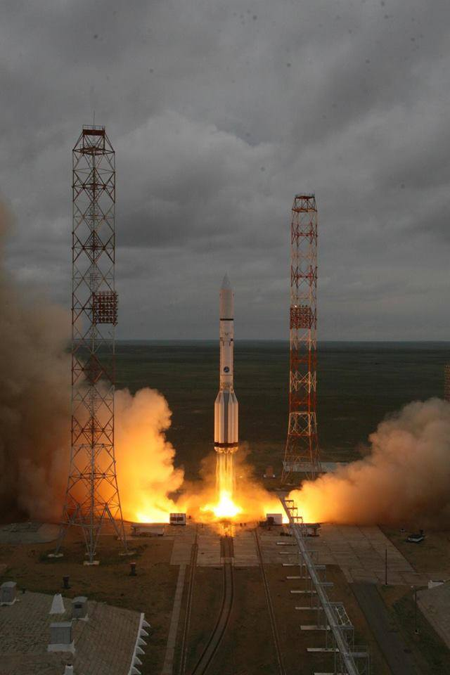 The Proton-M rocket lifts off the pad with the Cenenario/MexSat-1 satellite aboard. Photo Credit: Roscosmos