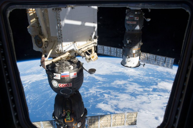 Russian Soyuz and Progress spacecraft docked to the International Space Station NASA photo posted on SpaceFlight Insider