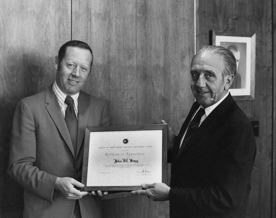 Jack King presented award by the first director of NASA's Kennedy Space Center Kurt Debus. Photo Credit: NASA / Retro Space Images