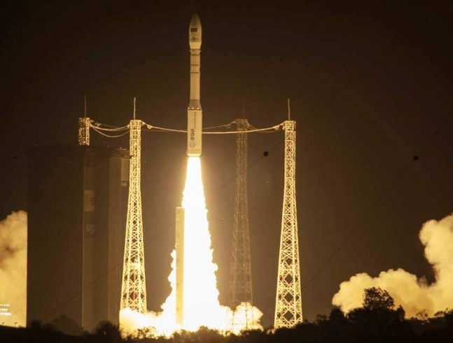 European Space Agency Arianespace Vega rocket lifts off from Kourou French Guiana with Sentinel 2A satellite ESA image posted on SpaceFlight Insider