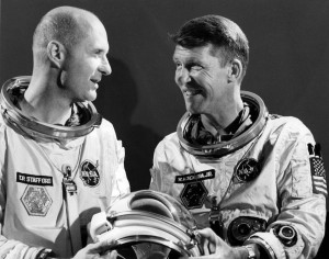 "Gemini 6 astronauts Thomas P. Stafford (left) and Walter ""Wally"" Schirra (right). Photo Credit: NASA / Retro Space Images"