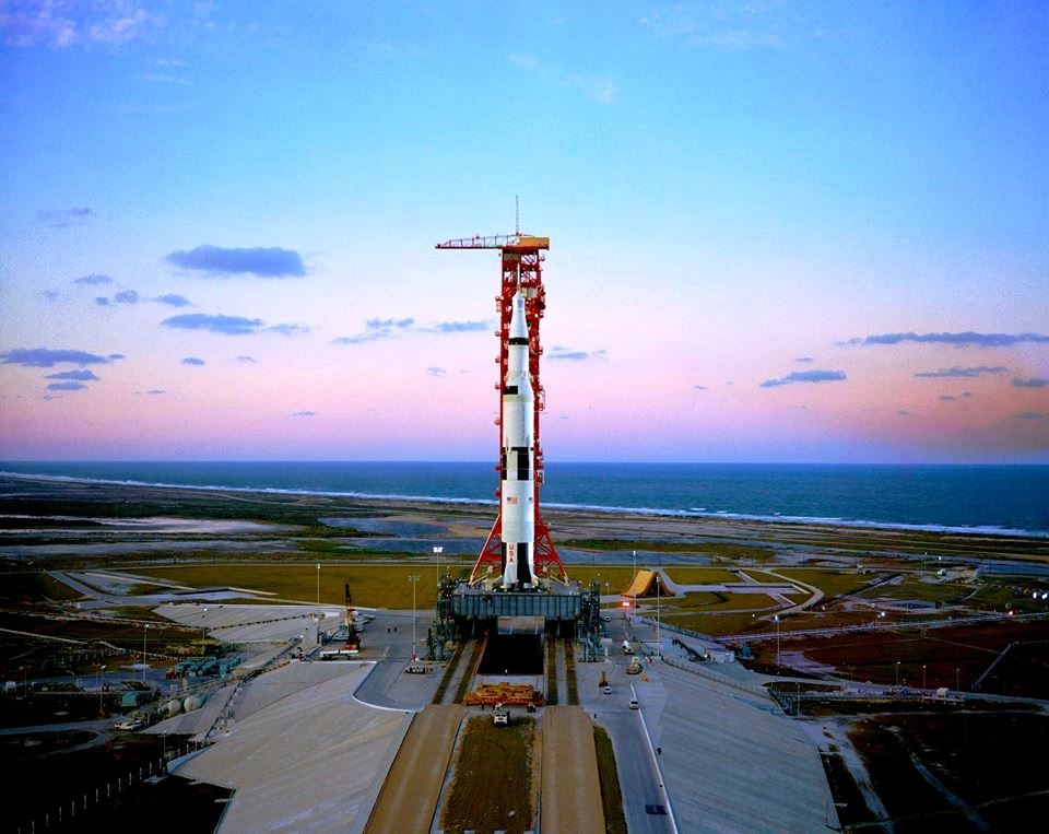 Kennedy Space Center's Launch Complex 39A in Florida with a Saturn V rocket at the pad. Photo Credit: NASA