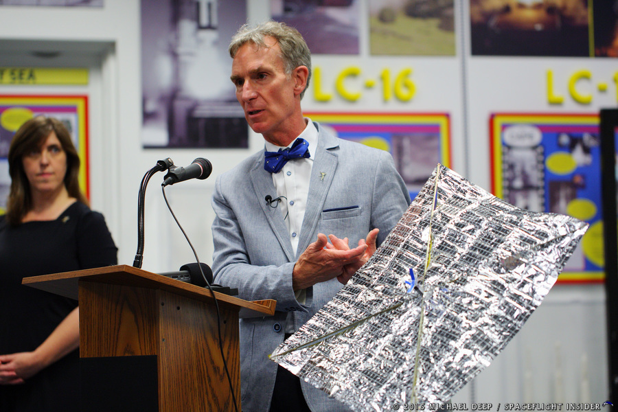 Bill Nye discussed the LightSail-A experiment prior to its launch on May. 20. Photo Credit: Mike Deep / SpaceFlight Insider