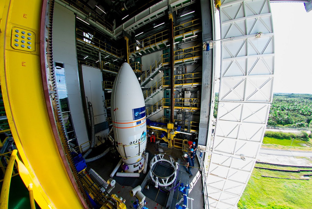 The European Space Agency's Sentinel 2A spacecraft is integrated with the Vega launch vehicle in this European Space Agency image posted on SpaceFlight Insider