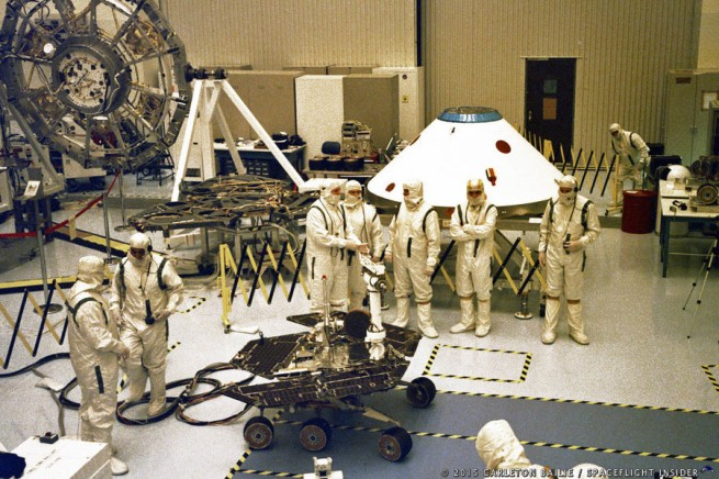 Spirit undergoes assembly with the various components of its system, the rover, aeroshell and heat shield visible in this image. Photo Credit: Carleton Bailie / SpaceFlight Insider