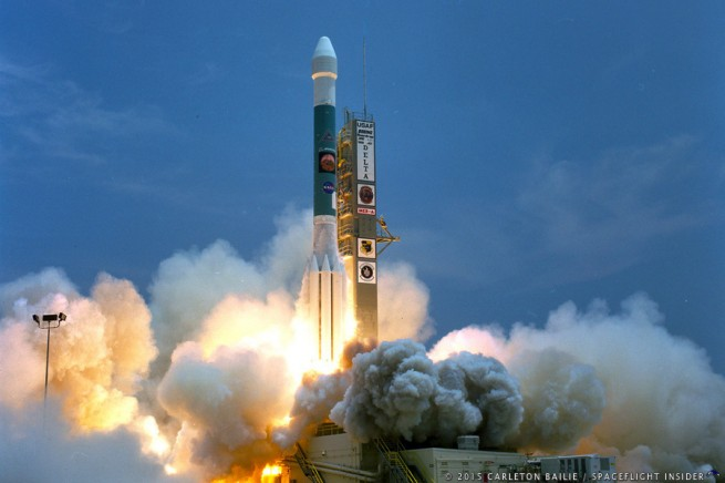 "Delta II Heavy lifting off with MER-A (""Spirit"") on June 10, 2003. Photo Credit: Carleton Bailie / SpaceFlight Insider"