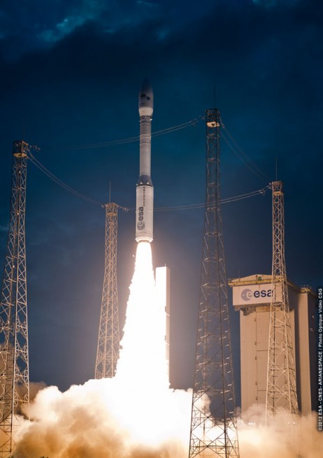 Arianespace launch vehicle lifts off from Kourou French Guiana photo credit European Space Agency