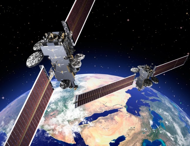 Arabsat 6 HellasSat 4 in orbit above Earth Lockheed Martin image posted on SpaceFlight Insider