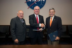 Space Florida President and CEO Frank DiBello at left, and Space Florida Chairman of the Board of Directors William T. Dymond Jr. and NASA Kennedy Space Center Director Robert Cabana. Photo credit: NASA/Kim Shiflett