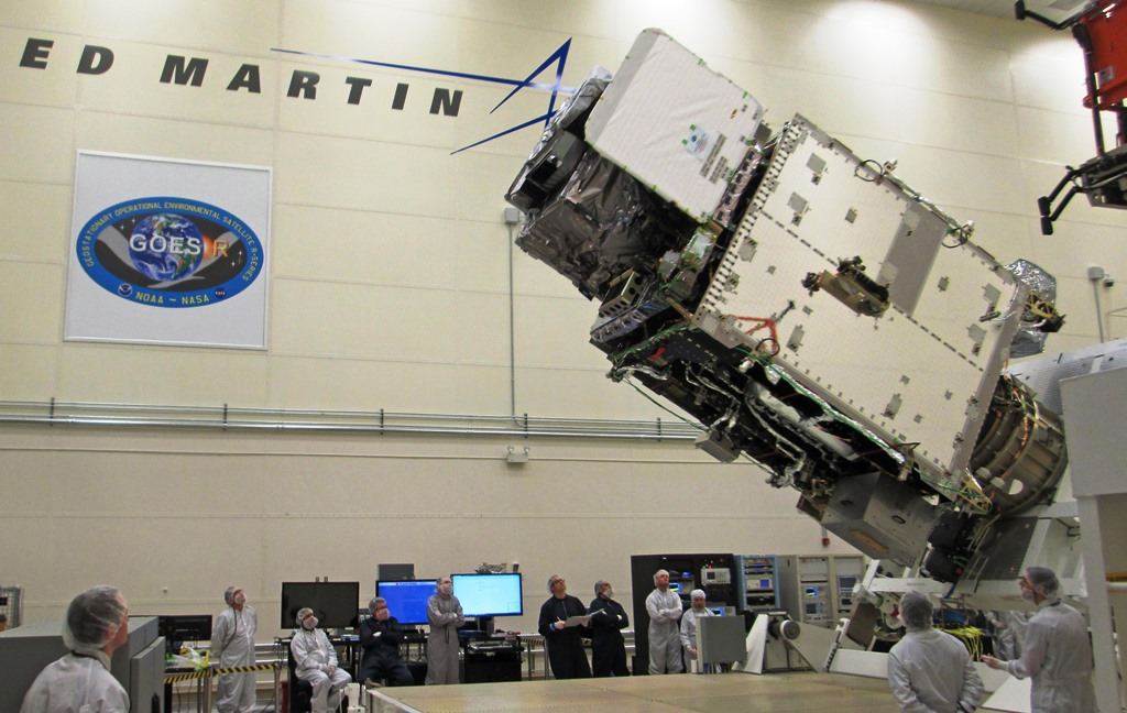 GOES-R spacecraft is rotated at Lockheed Martin's facilities in Denver, Colorado. Photo Credit: Lockheed Martin posted on SpaceFlight Insider
