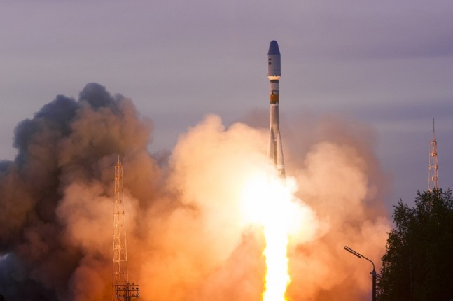 Launch of Kobalt spacecrat atop Russian Soyuz 2.1b rocket from Plesetsk Cosmodrone Roscosmos image posted on SpaceFlight Insider