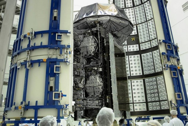 MUOS-3 being encapsulated at the Astrotech facilities in Titusville Florida Lockheed Martin photo posted on SpaceFlight Insider
