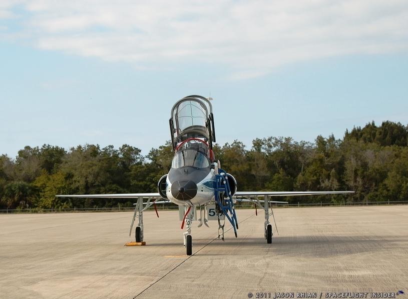 NASA STS-133 T-38 Talon jet at Shuttle Landing Facility SLF in Florida photo Credit Jason Rhian SpaceFlight Insider