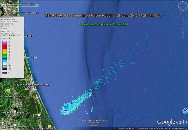 National Oceanic and Atmospheric Administration NOAA radar image of SpaceX Falcon 9 v1.1 debris image credit NOAA Space Weather Google posted on SpaceFlight Insider