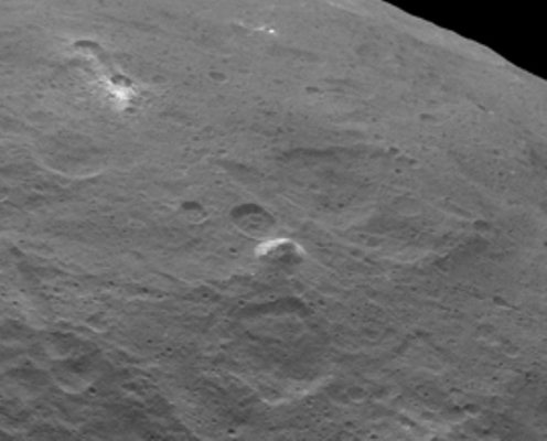 Ceres bright spots pyramid mountain NASA Dawn image posted on SpaceFlight Insider