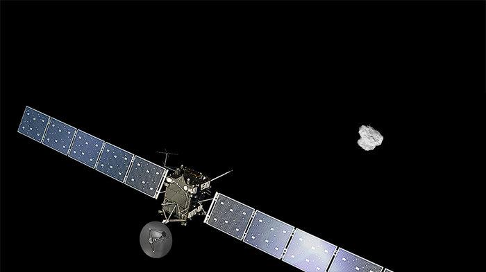 Artist impression of ESA's Rosetta approaching comet 67P/Churyumov-Gerasimenko. Image Credit: ESA