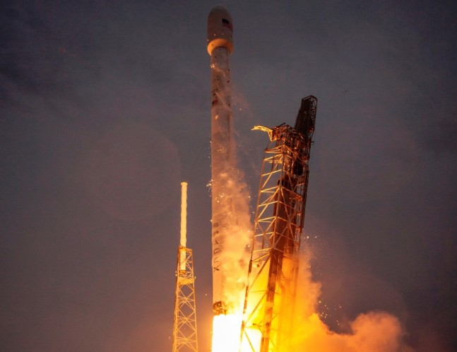 SpaceX Falcon 9 v1.1 rocket launches from Cape Canaveral Air Force Station Space Launch Complex 40 SLC-40 with Thales Turkamenalem satellite SpaceX photo posted on SpaceFlight Insider
