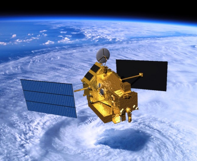 Visualization of the TRMM satellite in space over a tropical cyclone. Image Credit: NASA