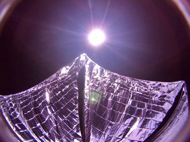 The complete photo of the deployed solar sail. Photo Credit: The Planetary Society.