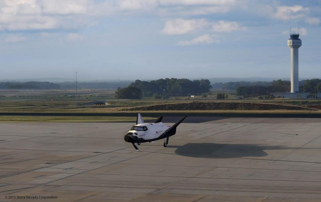 Graphical Depiction of SNC Dream Chaser on runway at HSV