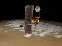Artist's rendering of Mars Odyssey spacecraft in orbit above the surface of the Red Planet. Image Credit: NASA posted on SpaceFlight Insider