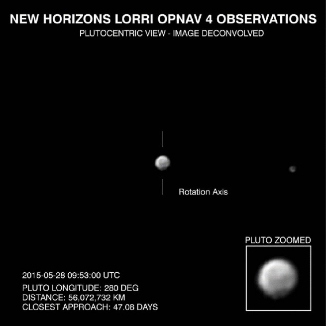The dwarf planet Pluto, as seen in this LORRI image taken from May 28, 2015 image credit JHUAPL NASA