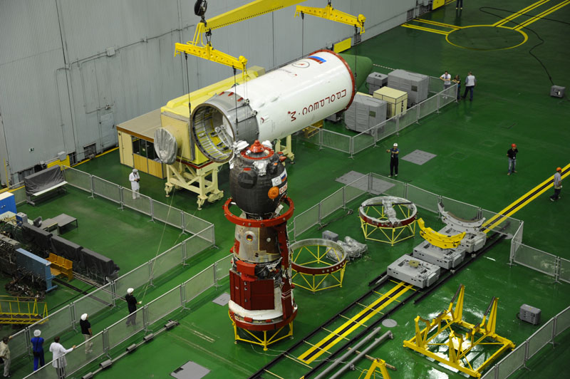 The Progress M-28M spacecraft is seen in its processing facility at the Baikonur Cosmodrome in Kazakhstan being prepared for the launch