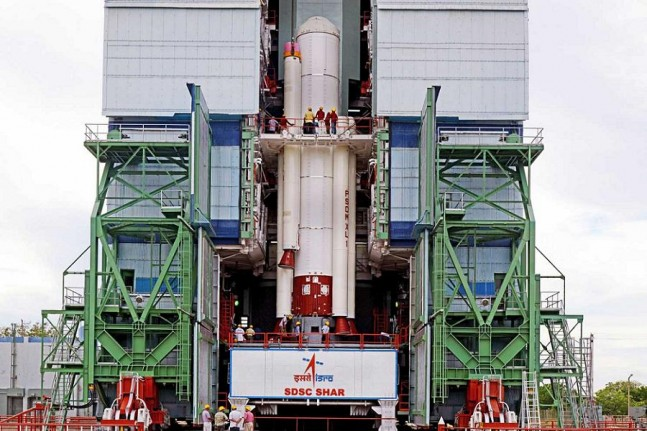 PSLV-C28 Strap-Ons are being assembled with Core Stage at the Satish Dhawan Space Centre