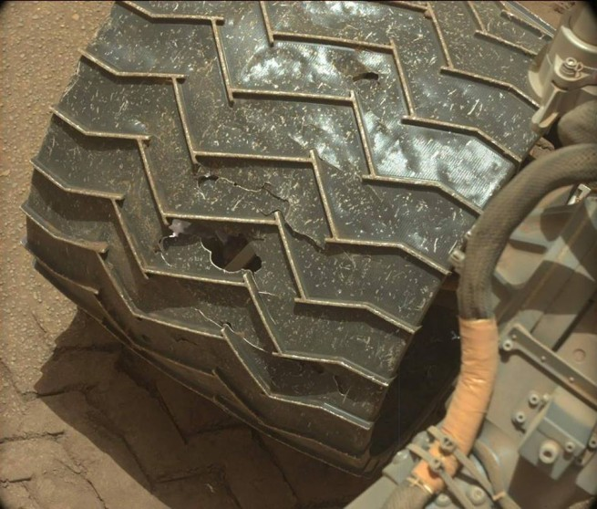 NASA Mars Science Laboratory rover Curiosity Mount Sharp Gale Crater Wheel damage NASA photo posted on SpaceFlight Insider
