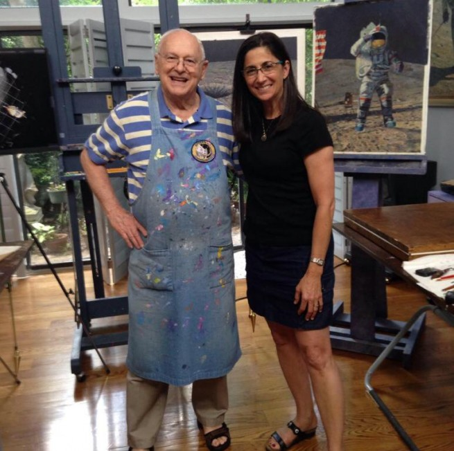 Nicole Stott with Moonwalker and fellow astronaut artist Alan Bean. Photo Courtesy Nicole Stott