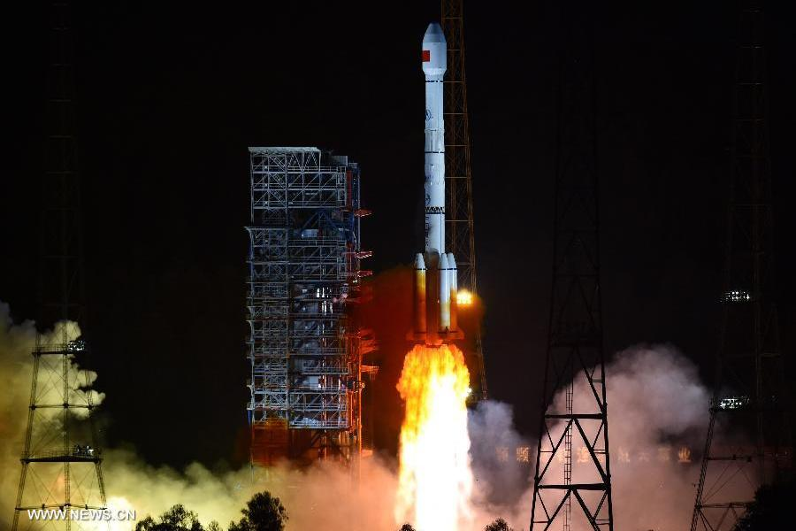 A Long March-3B rocket carrying two new-generation satellites for the BeiDou Navigation Satellite System (BDS) blasts off from the Xichang Satellite Launch Center in the southwest China's Sichuan Province, July 25, 2015