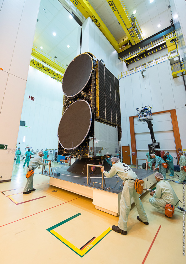 Engineers prepare the Star One C4 satellite for the July 15 launch