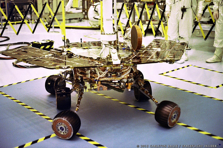 NASA Jet Propulsion Laboratory Mars Exploration Rover Opportunity  clean room photo credit Carleton Bailie SpaceFlight Insider
