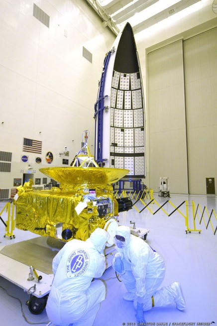 NASA's New Horizons in the clean room with payload fairing. Photo Credit Carleton Bailie / SpaceFlight Insider