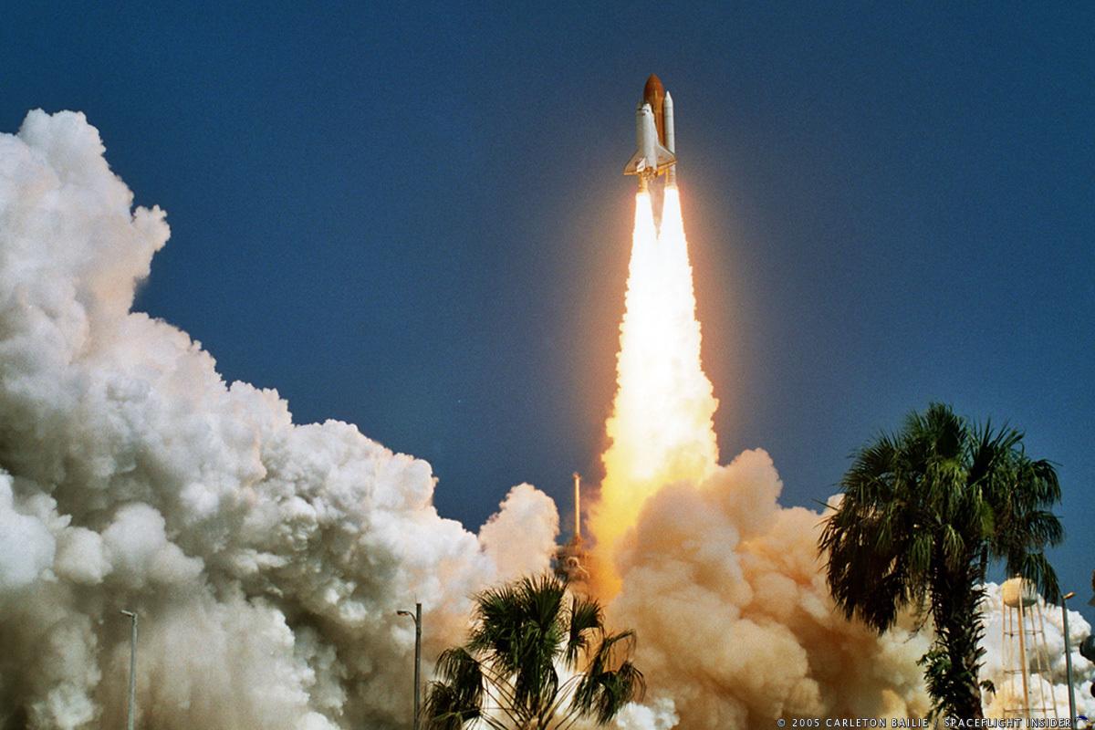 NASA space shuttle Discovery launches from Kennedy Space Center's LC-39A on mission STS-114 on July 26, 2005. Photo Credit: Carleton Bailie SpaceFlight Insider
