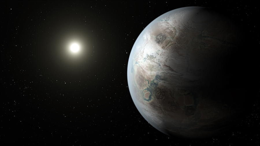 This artist's concept depicts one possible appearance of the planet Kepler-452b, the first near-Earth-size world to be found in the habitable zone of star that is similar to our sun. Image Credit: NASA/JPL-Caltech/T. Pyle