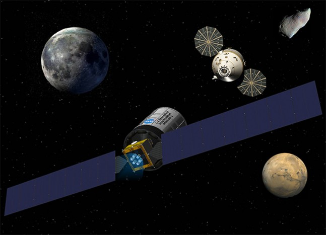 Artist's conception of NASA's Orion spacecraft docking with a Solar Electric Propulsion (SEP) cargo tug. Image Credit: Aerojet Rocketdyne