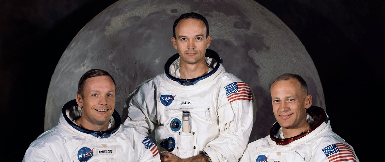Apollo_11 crew Neil Armstrong Michael Collins Buzz Aldrin NASA photo posted on SpaceFlight Insider