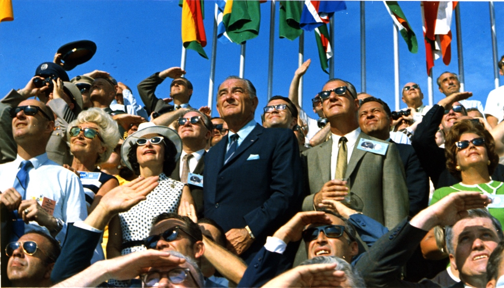 Former U.S. President Lyndon B. Johnson views the launch of Apollo 11 from