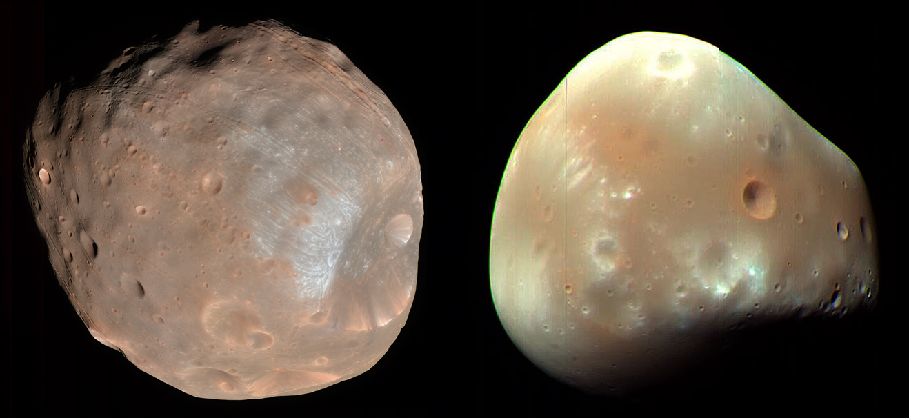 Martian moons Phobos and Deimos NASA APOD image posted on SpaceFlight Insider