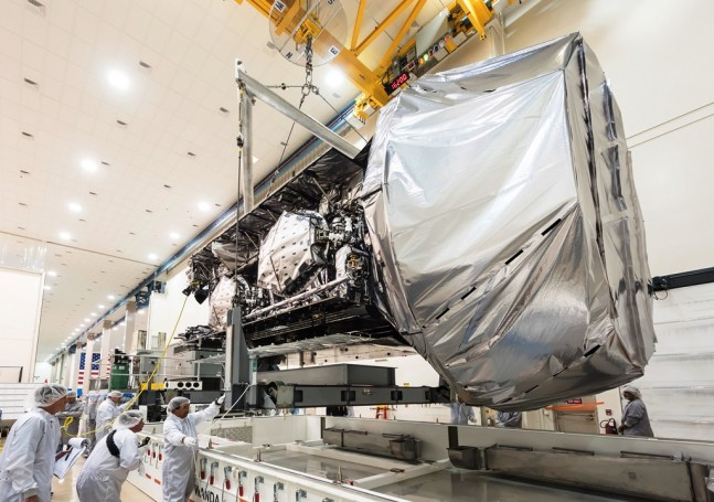 Mobile-User-Objective-System-4-MUOS-4-spacecraft-being-prepared-for-delivery-to-Cape-Canaveral-Air-Force-Station-Lockheed-Martin-photo-posted-on-SpaceFlight-Insider
