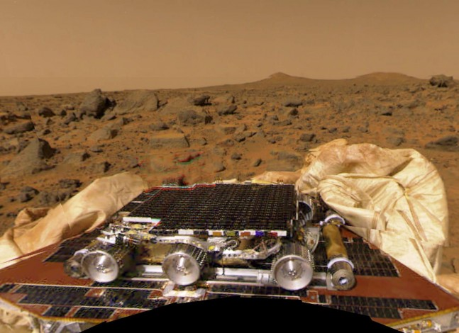 NASA Mars Pathfinder rover on the surface of Mars Jet Propulsion Laboratory image posted on the SpaceFlight Insider